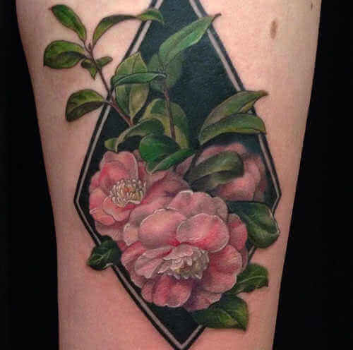 Arm Tattoo rosa Blumen