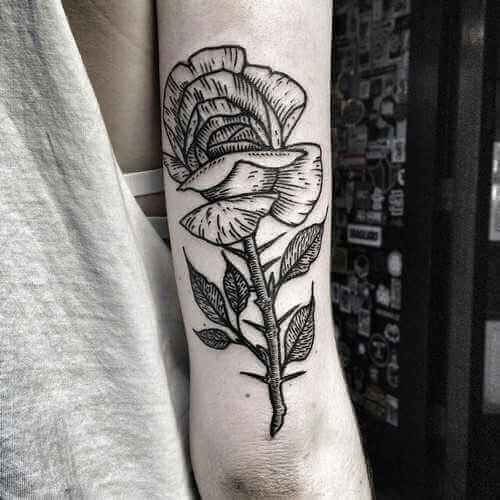 Arm-Tattoo Rose schwarz/weiß