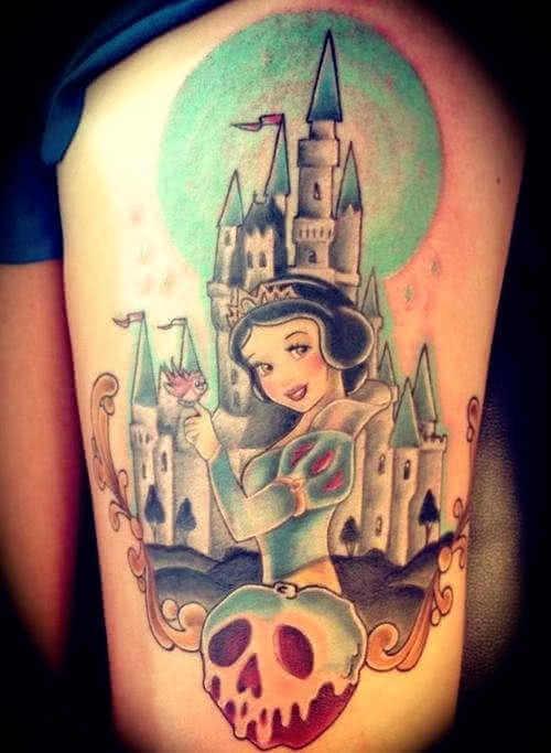 Bein Tattoo Schneewittchen