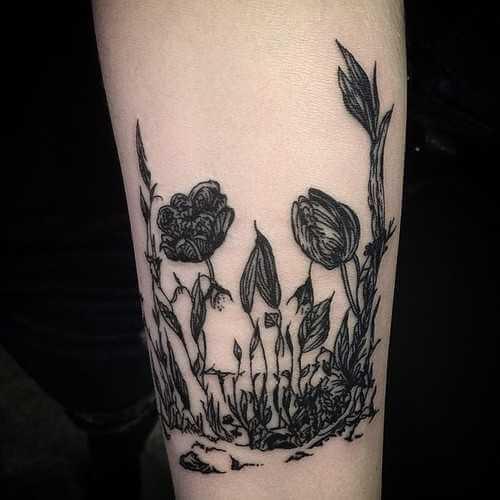 Blumen Tattoo schwarz/weiss