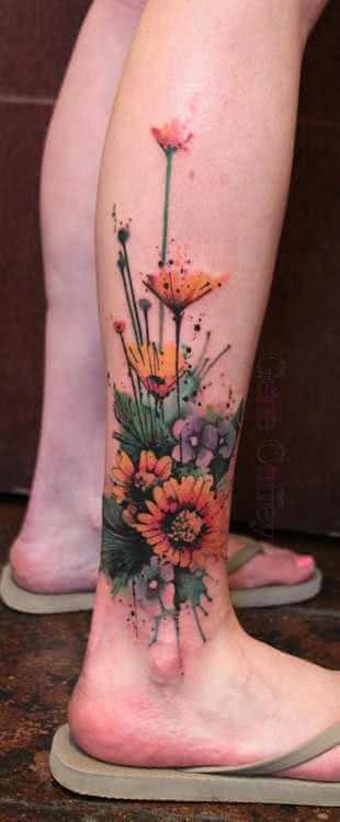 buntes Blumen Tattoo