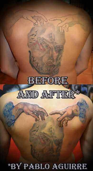 Cover up Rücken Tattoo Gottes  Hände