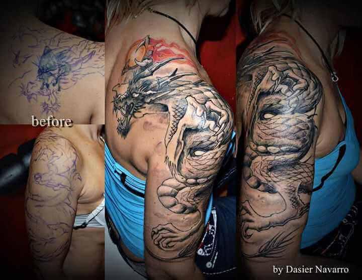 Cover up Tattoo Oberarm Drache