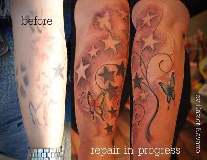 Cover up Tattoo Schmetterlinge und Sterne