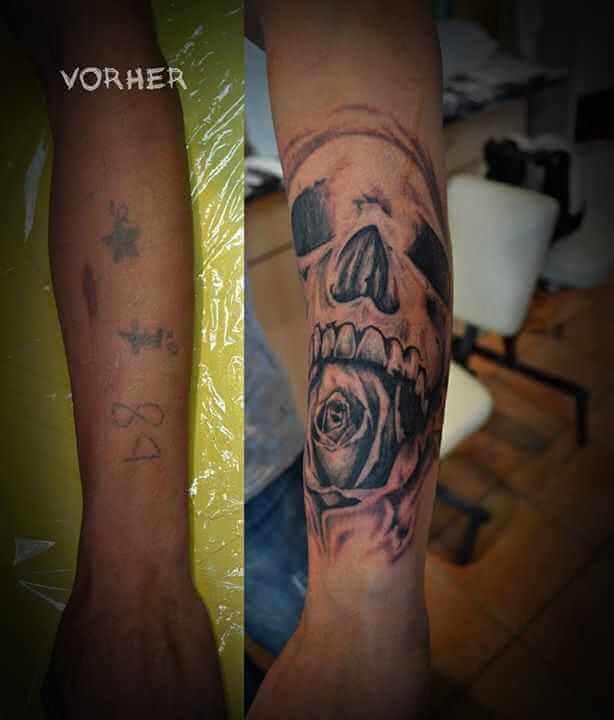 Cover up Tattoo Totenkopf mit Rose