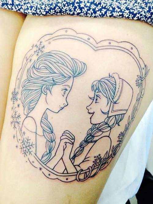 Eiskönigin Tattoo Oberschenkel