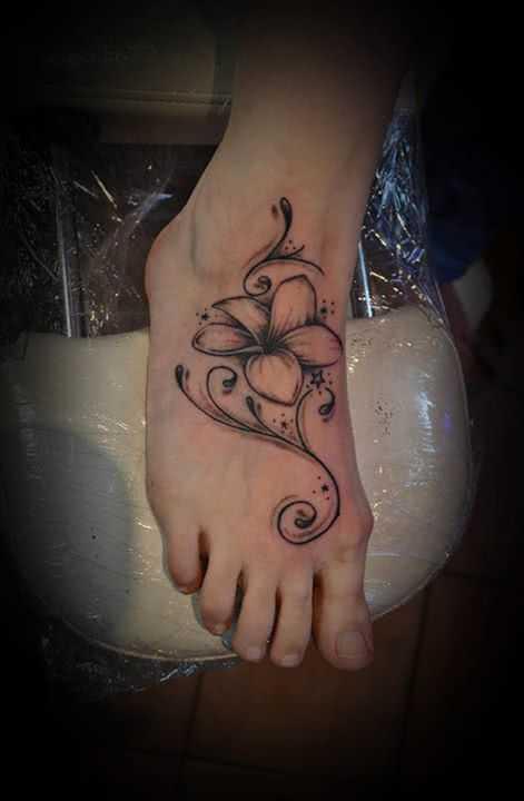 Fuss Tattoo Orchidee mit Ornament