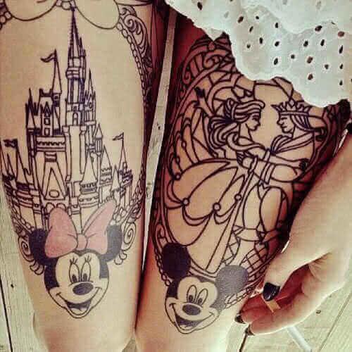 Minnie und Mickeymaus Bein Tattoo