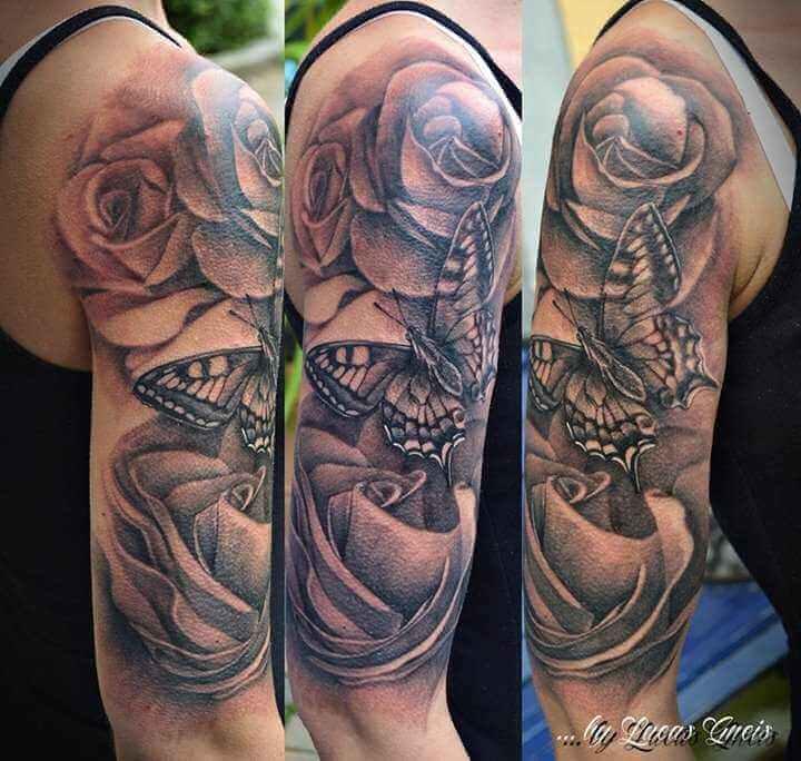 Schmetterling und Rosen Arm Tattoo