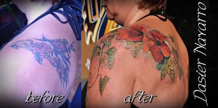 Schulter Tattoo Cover up Blume