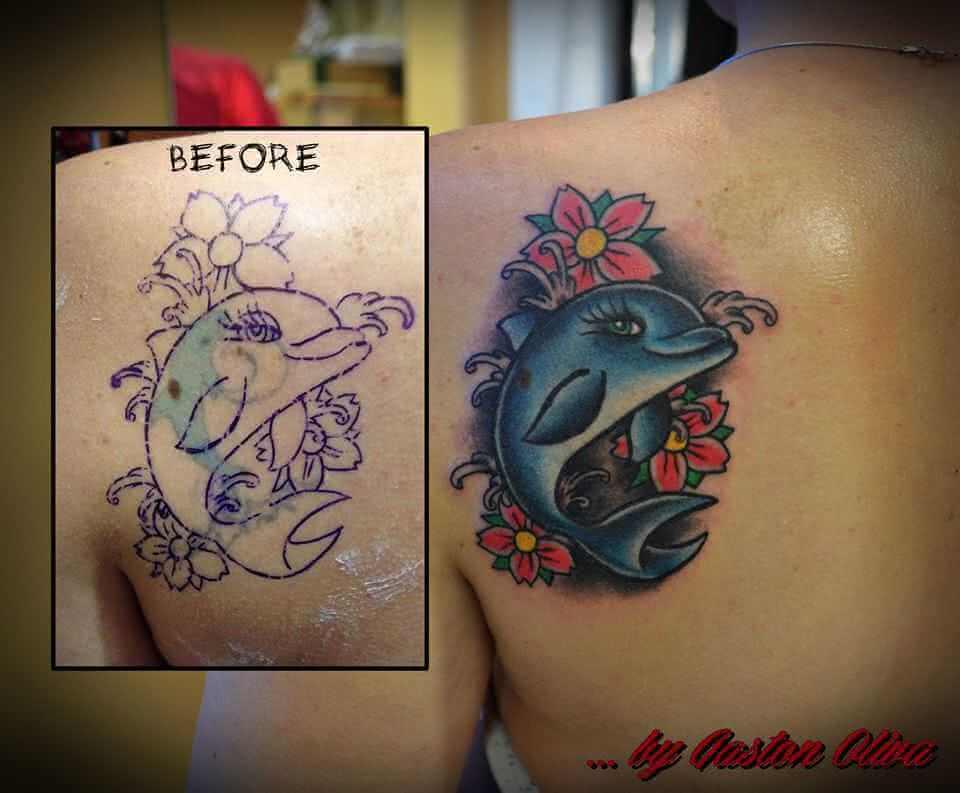 Schulter Tattoo Delfin