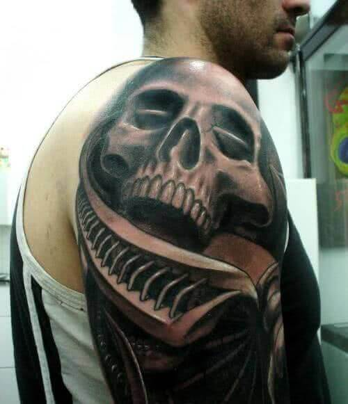 3D Totenkopf auf dem Oberarm