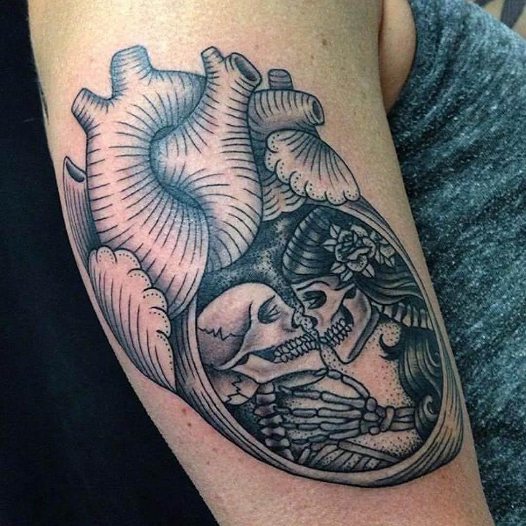 Anatomisches Herz mit 2 Skeletten