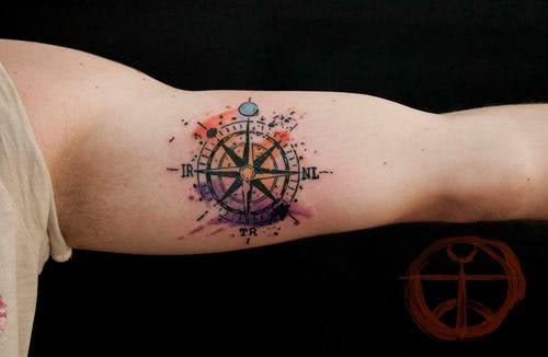 Aquarell Kompass