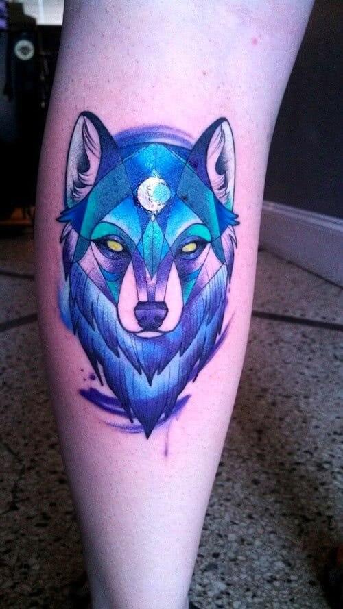 Blauer Wolf Wolfkopf