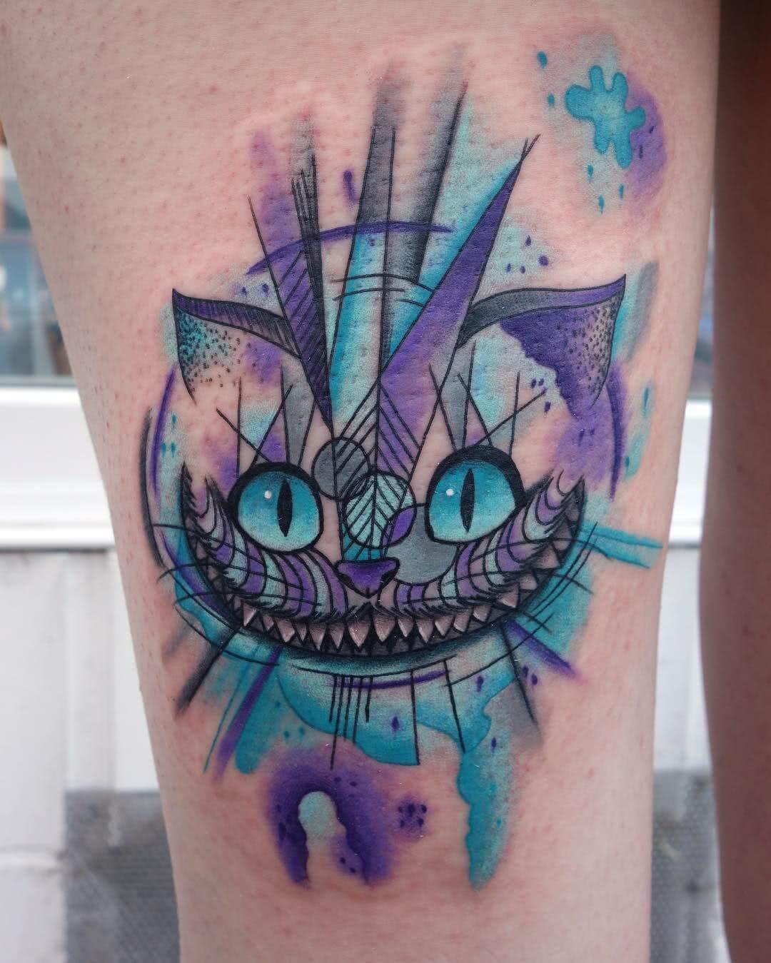 Cheshire Cat Aquarell Tattoo