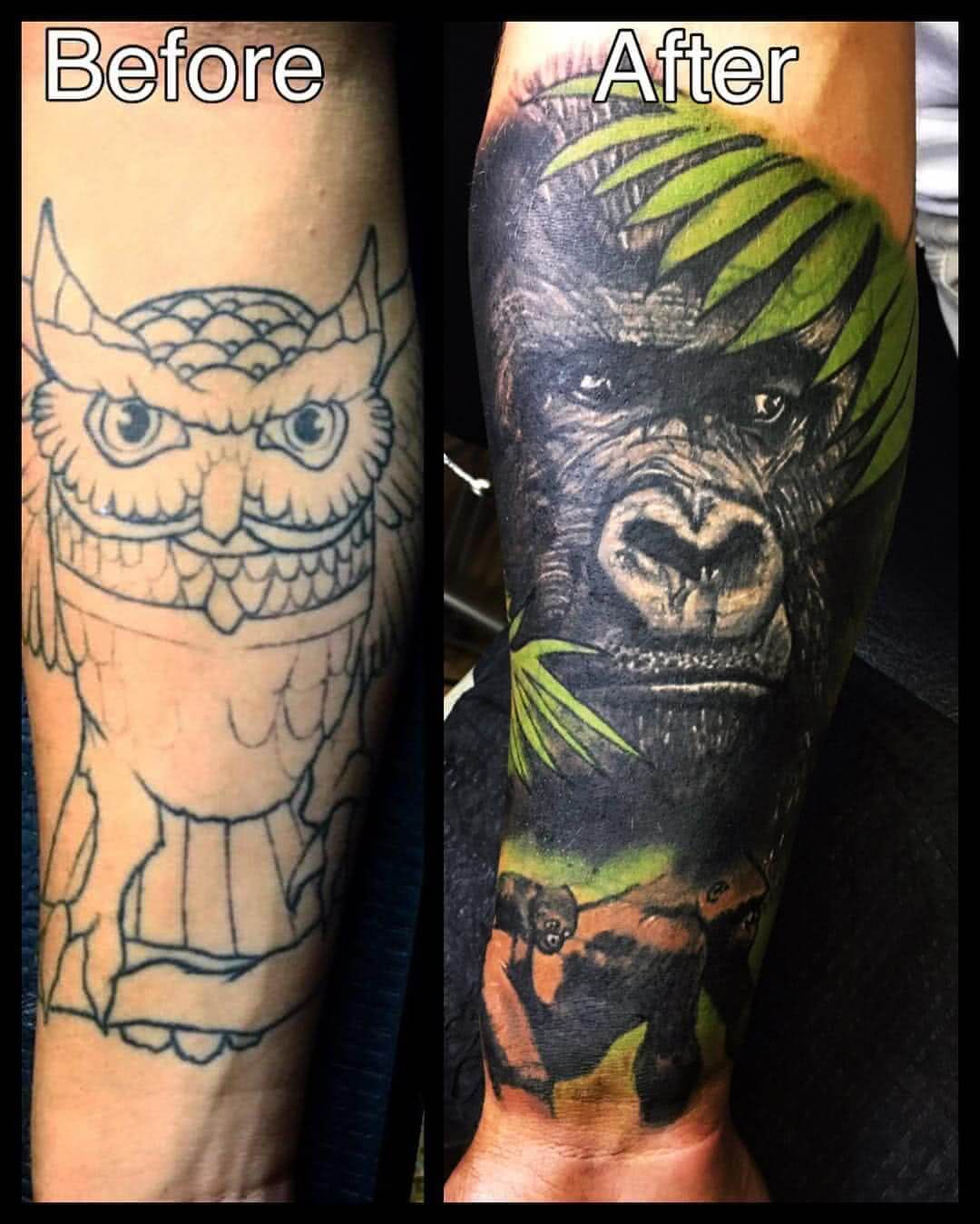 Tattoo Cover Up Eule Gorilla