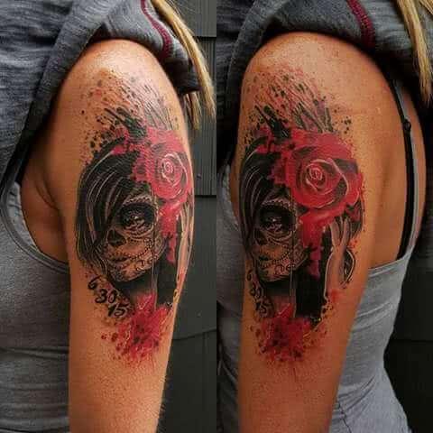 Deadskull mit roter Rose
