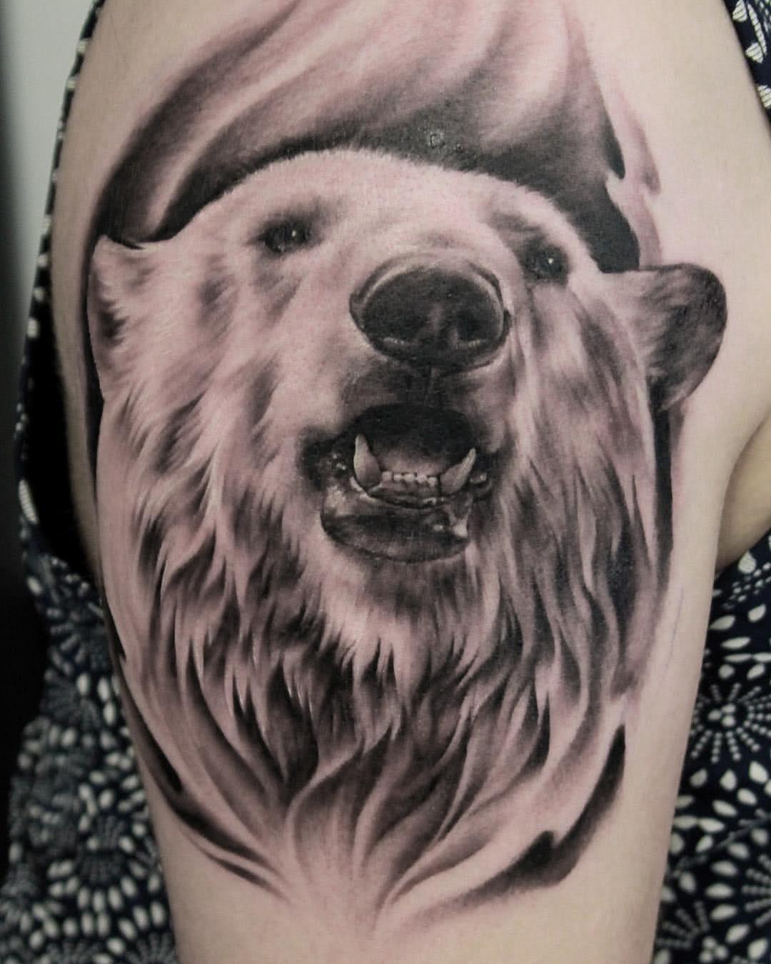 Eisbär auf dem Arm