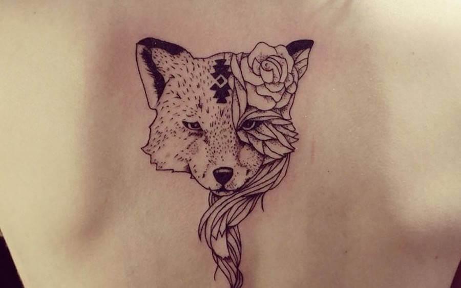 Fuchs und Fuchsin auf dem Rücken