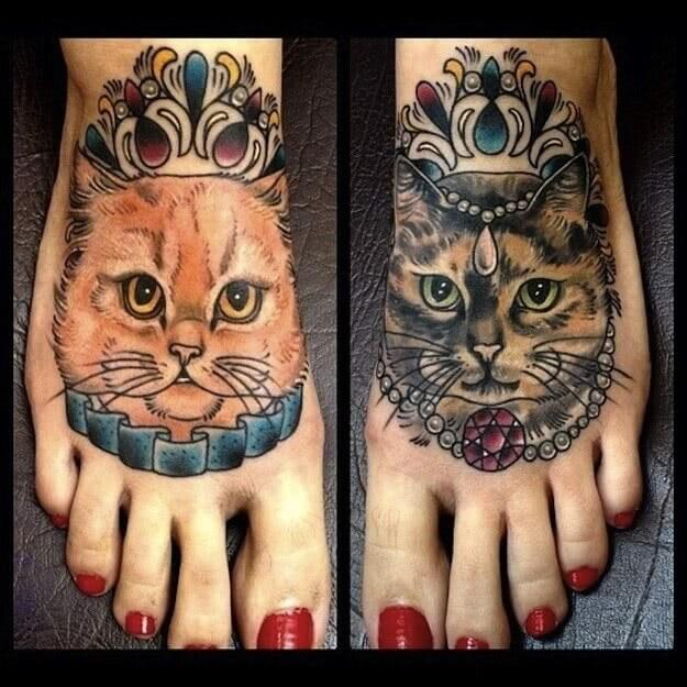 Fußtattoo Katzen
