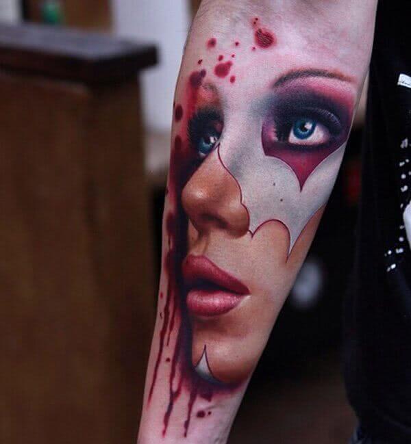 Tattoo Geschminktes Frauengesicht