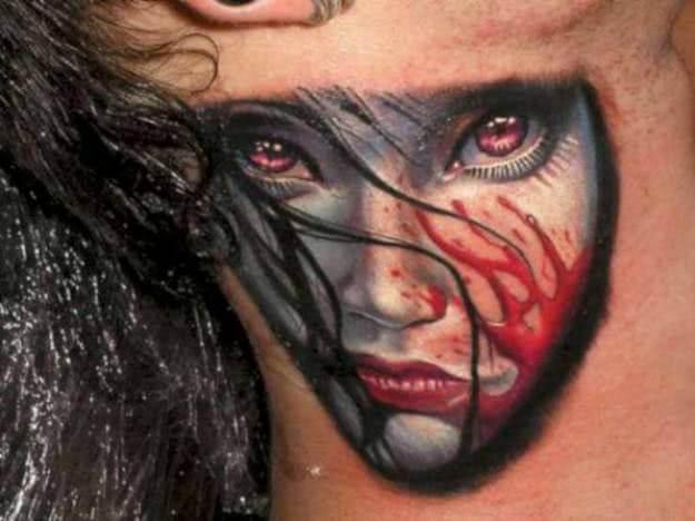 Gesicht mit Blut