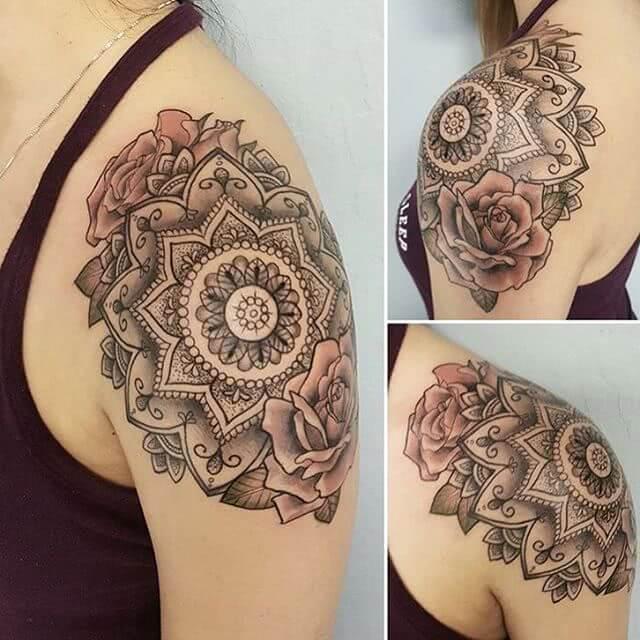 großes Mandala mit Rosen
