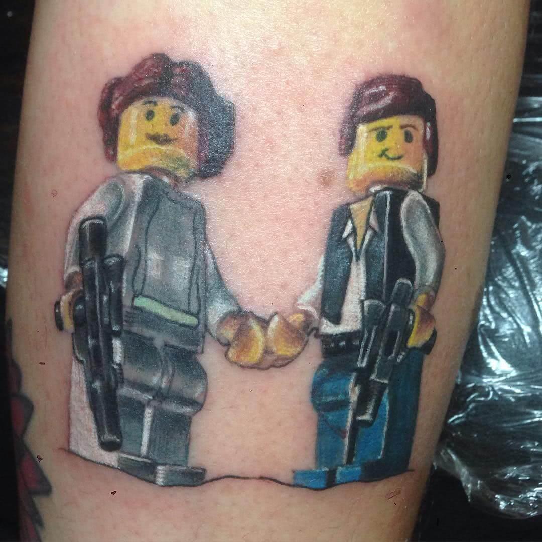 Han Solo und Lea Legofiguren