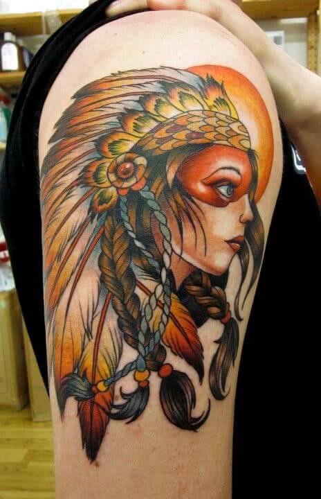 Indianer Frau mit Häuptlingskrone
