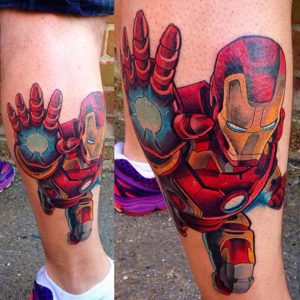 Iron Man auf der Wade