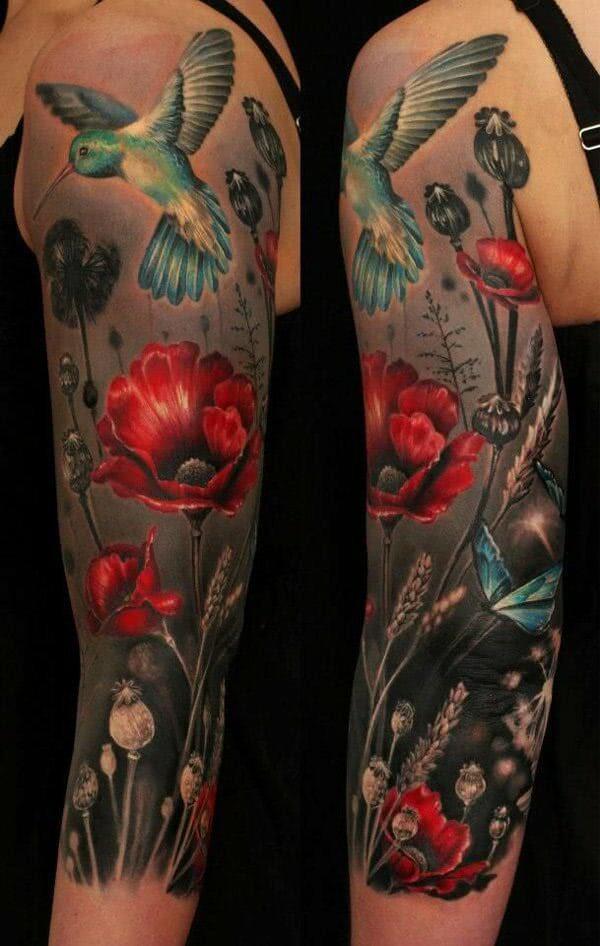 Kolibri und Mohnblumen Sleeve