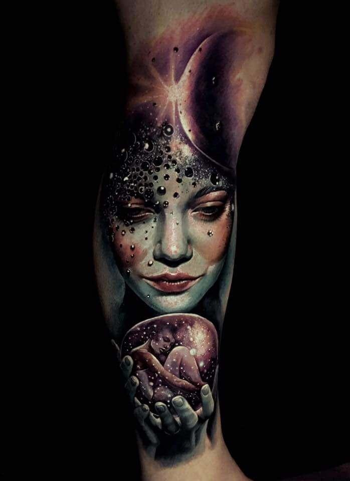 Tattoo Mystisches Sleeve aum Unter-Bein
