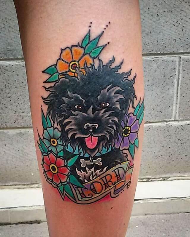 Oldschool Hund und Blumen