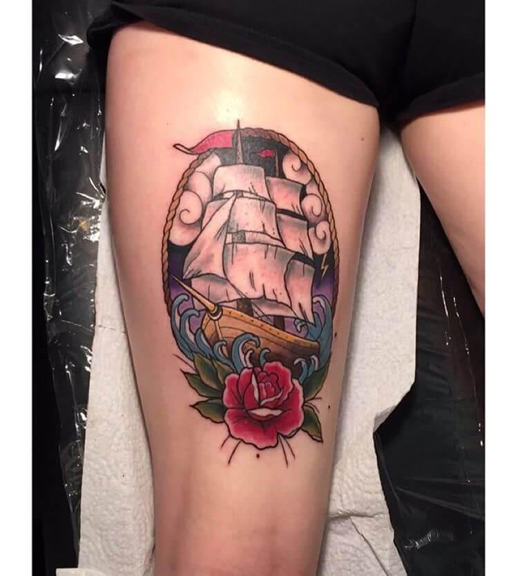 Oldschool Schiff und Rose