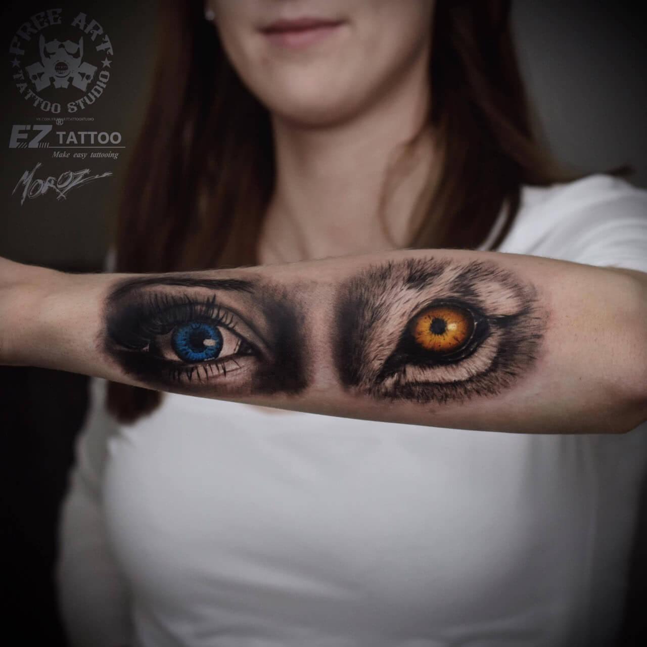 Tattoo Realistische Augen Mensch und Wolf