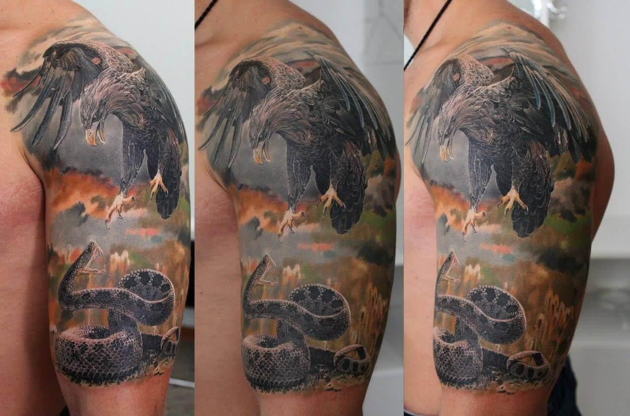 Realistische Landschaft mit Adler und Schlange