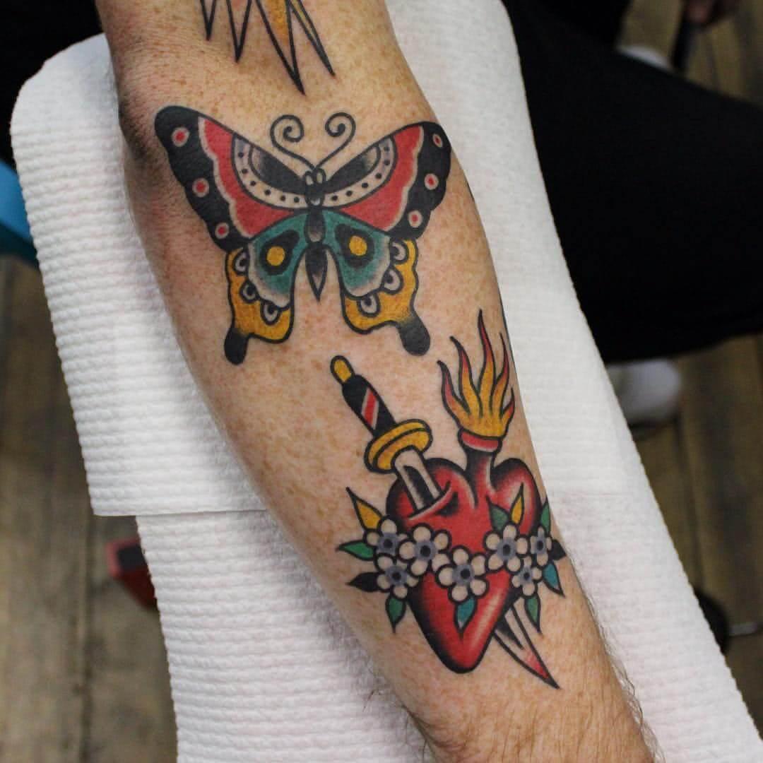 Schmetterling, Herz mit Dolch