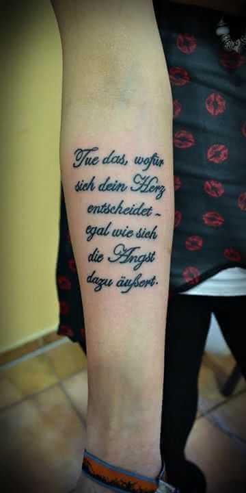 schöner Spruch auf Arm