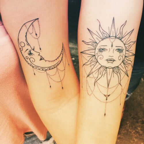 Sonne und Mond Freundschaftstattoo