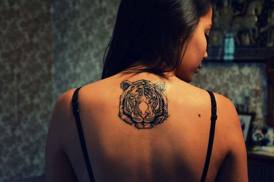 Tigerkopf Rücken