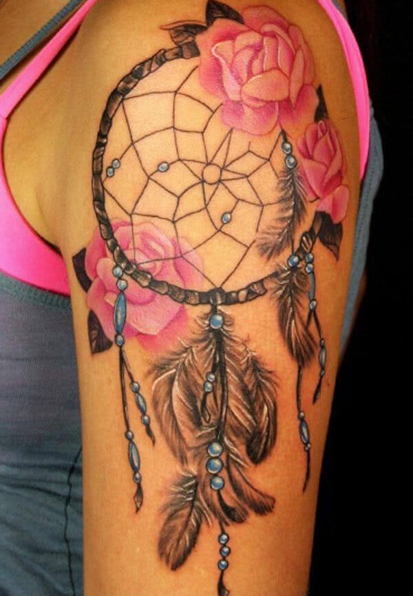 Tattoo Traumfänger mit Blumen