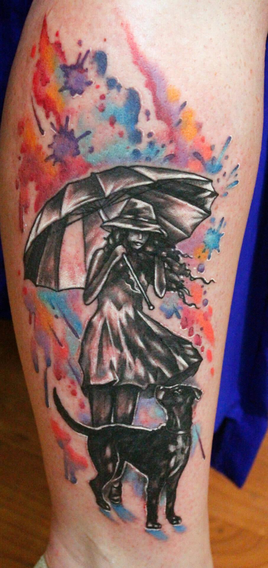 Watercolor Regen Hund Frau mit Regenschirm
