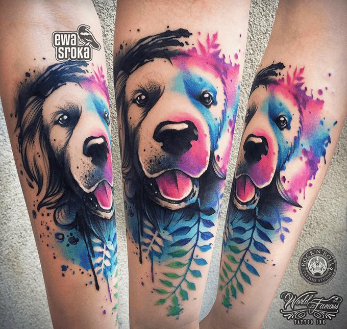 Watercolor Wasserfarbe Hund Dog