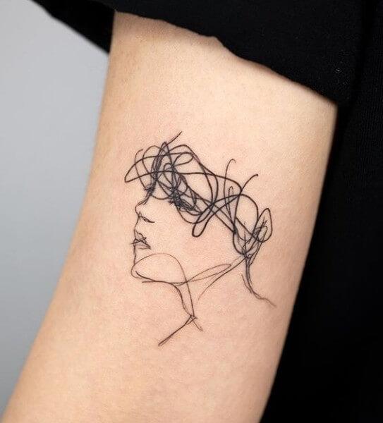 Tattoo Lineart Gesicht
